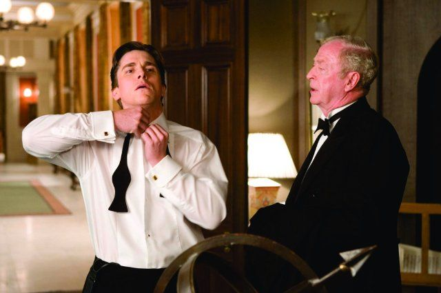 Still of Christian Bale and Michael Caine in Batman Begins