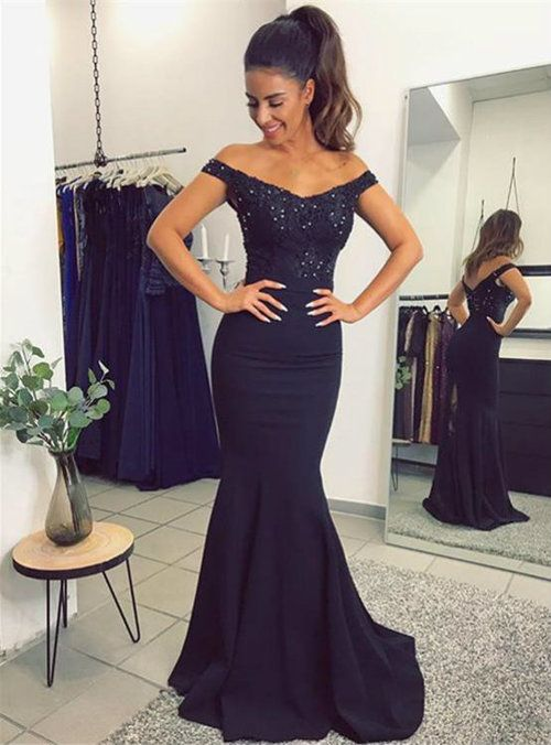 1e62fa99d25b Silhouette:mermaid Hemline:floor lenght Neckline:off shoulder Fabric:satin  Sleeve Style:sleeveless Shown color:black Back style:zipper up  Embellishment: ...