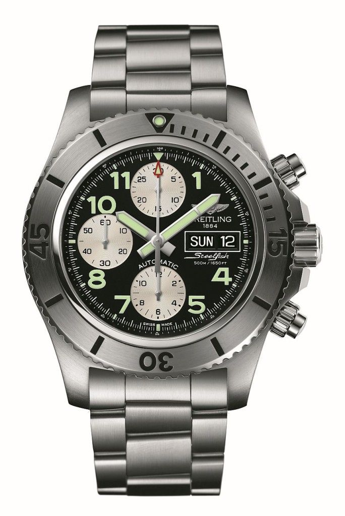 """Breitling Superocean Chronograph Steelfish Watch New For 2014 - by Patrick Kansa - See more about it on aBlogtoWatch.com """"The Breitling Superoean Chronograph Steelfish is a new member of the brand's dive-style watch family for 2014... They have a pretty firm association to aviation in my mind. A closer look at their logo (and their latest release) reveals that they're not just content to ride the air currents–they also want to accompany your trips below the waves..."""""""