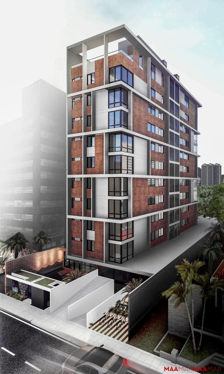 MAA - Metzler Arquitetos Associados. Victor Konder/ Blumenau. #nightrendering #rendering #buidingidea #prédio #multifamiliar #render #perspectiva #edifício #apartamentos #arquitetura #architecture #hall #facade