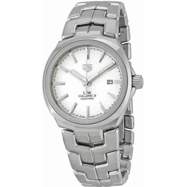 Tag Heuer Link Automatic Ladies Watch (€1.895) ❤ liked on Polyvore featuring jewelry, watches, transparent dial watches, automatic movement watches, analog wrist watch, transparent watches and tag heuer watches