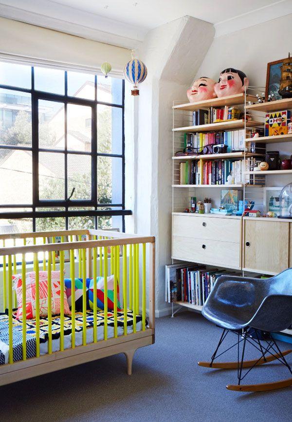 modern nursery with neon crib   Virginia+Scott