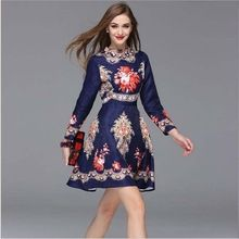 Женщины с длинным рукавом потрясающие королевский цветочные печатный свободного покроя хлопок добби платье 2015 осень зима новой впп бренда платья Vestidos(China (Mainland))