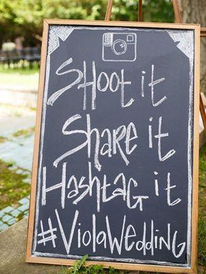 rustic chalkboard outdoor wedding hashtag signs