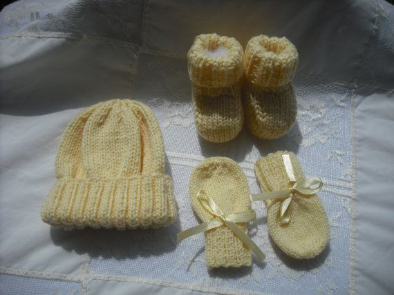Knitted Pastel Yellow Baby Set - Hat, Booties and Mittens ages 0-6 months