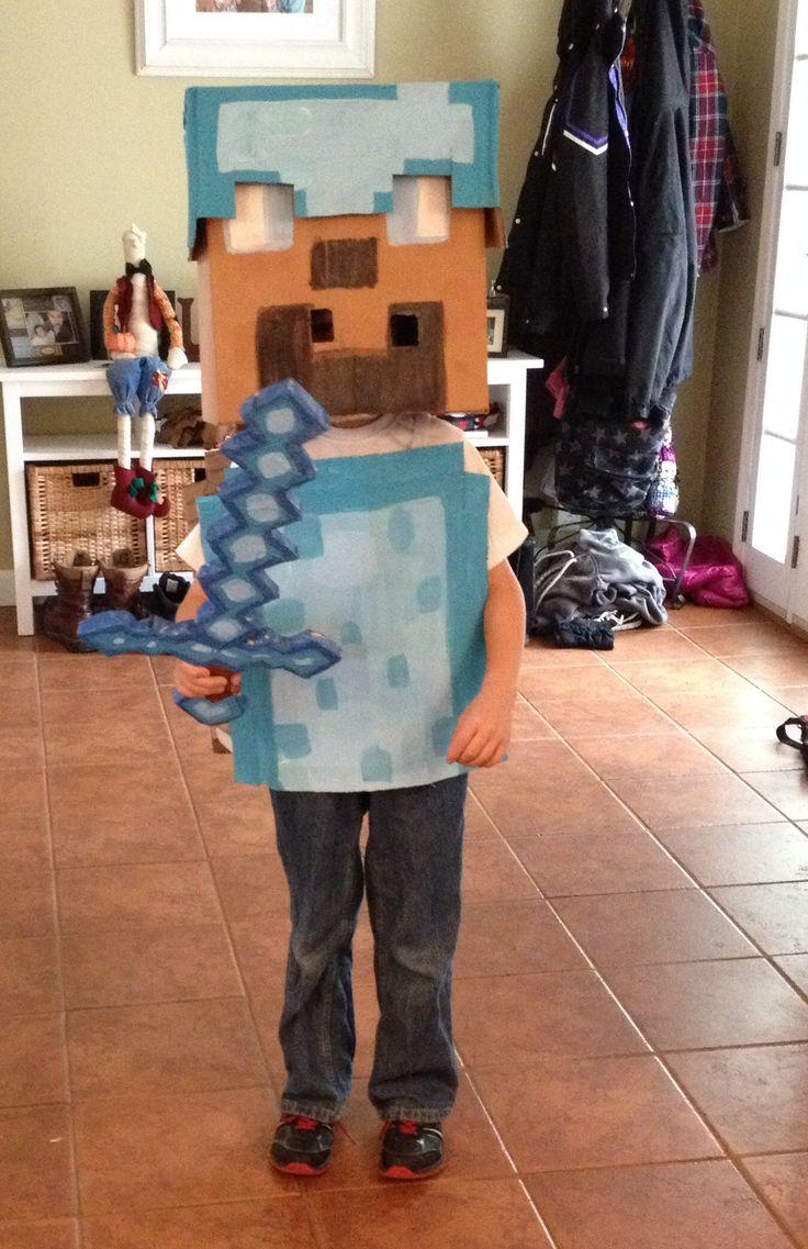 Minecraft diamond Steve costume :)   Jared minecraft party ...