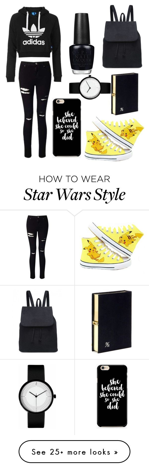 """black&Pikachu!!!"" by theteress on Polyvore featuring adidas Originals, Miss Selfridge, Olympia Le-Tan and OPI"