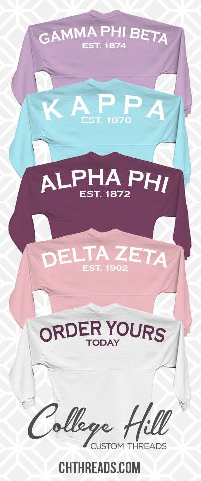 Spirit Jersey yourself and your chapter with College Hill Custom Threads sorority and fraternity greek apparel and products! | @ch_threads | SALE happening now for a LIMTED TIME only! So Check out out and get a quick quote! #Sorority #University #gamma #phi  #beta #kappa #alpha #phi #delta #zeta