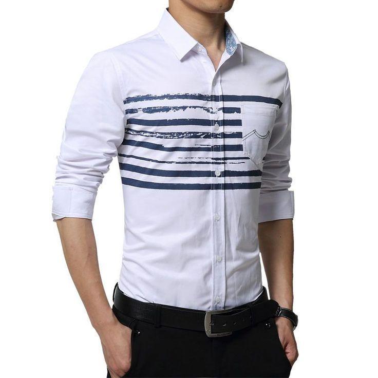 Mens Slim Fit Denim Shirt, Fashion Dress Shirt, Blue, White