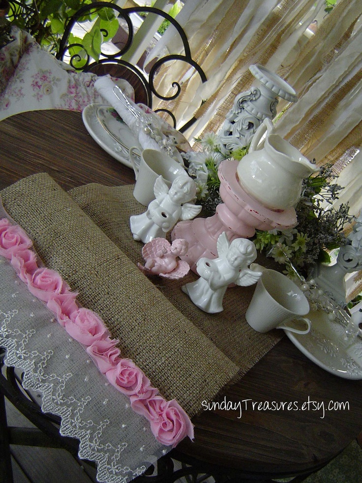 """12""""x72"""" Natural BURLAP TABLE RUNNER. PiNK Tattered Roses White Lace Wedd"""