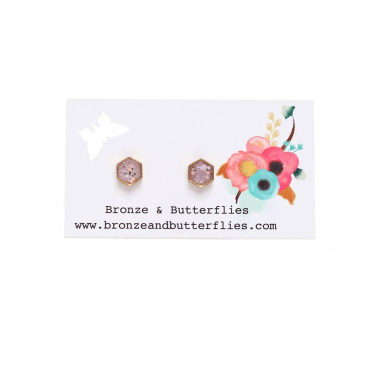 8.5mm Rose Quartz Colour Brass Hexagon Stud Earrings