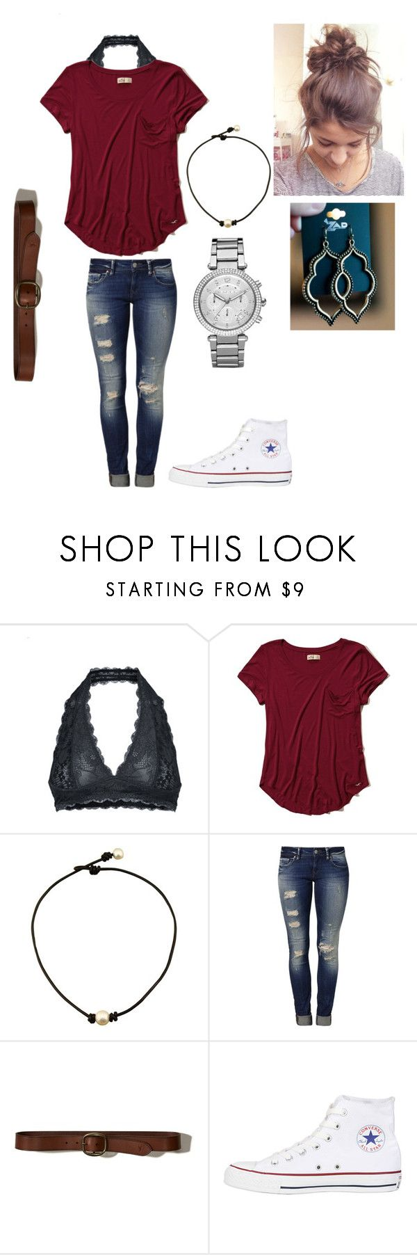 """""""Simple outfit for tomorrow😊"""" by preppysoccergirl07 ❤ liked on Polyvore featuring Free People, Hollister Co., Mavi, Converse and Michael Kors"""