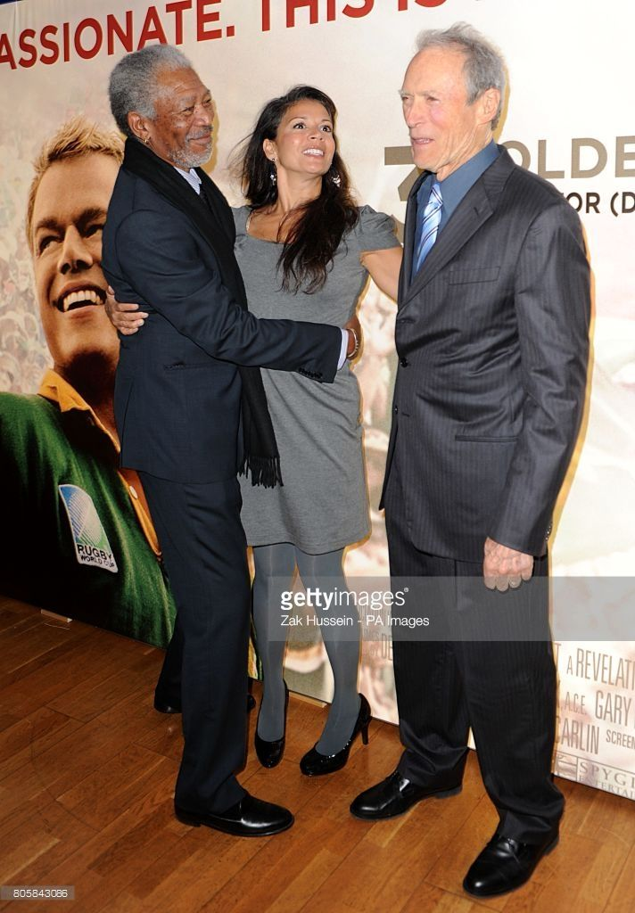 Clint Eastwood with his wife Dina (centre) and Morgan Freeman (left) at the UK premiere of Invictus at the Odeon Leicester Square, London.