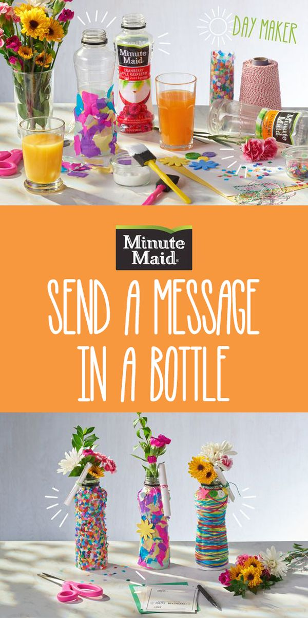 Upcycle your single-serve Minute Maid bottles by turning them into a vase filled with flowers. Don't forget to attach a sweet message to a parent who's #doingood.