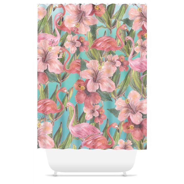 Flamingo Hibiscus Beach Shower Curtain