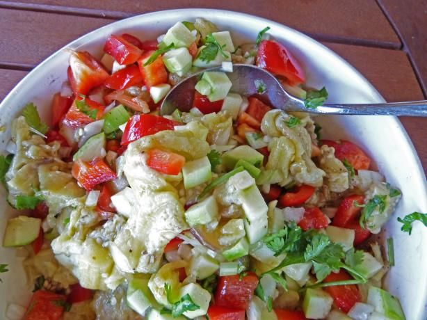 South African - Roasted Eggplant Salad from Food.com:   								This recipe is from a website called South African Traditional Recipes and has been posted here for the ZWT-7 Tour of South Africa. It sounds excellent.