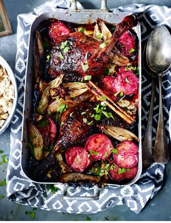 Sticky spiced duck legs  with plums | This is a fantastic alternative to a classic sunday roast but it's just as delicious. Why not give it a go this weekend?