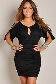 Sexy Solid Black Open Shoulder Scrunch Dress