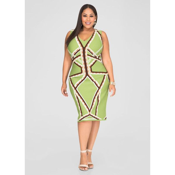 Ashley Stewart Geo Stripe Sheath Dress ($38) ❤ liked on Polyvore featuring dresses, body conscious dress, plus size bodycon dresses, sheath dress, ashley stewart and lining dress