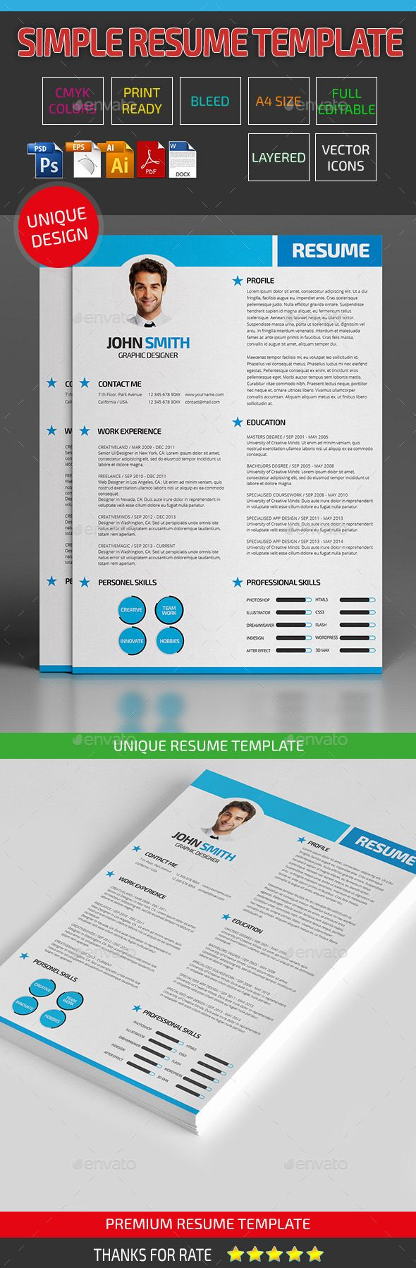 simple resume indesign template graphicriver 28 images