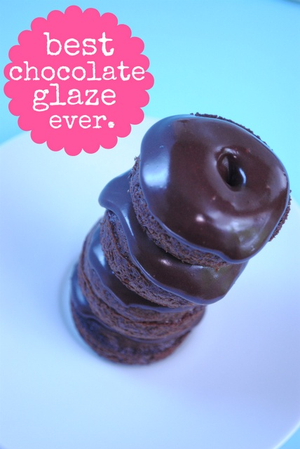 "Seriously Best Chocolate Glaze EVER-- perfect on cookies, cakes, even donuts!    It spreads on thick, like frosting, which makes it easy to work with. And then ""relaxes"" into a smooth, beautiful glaze."