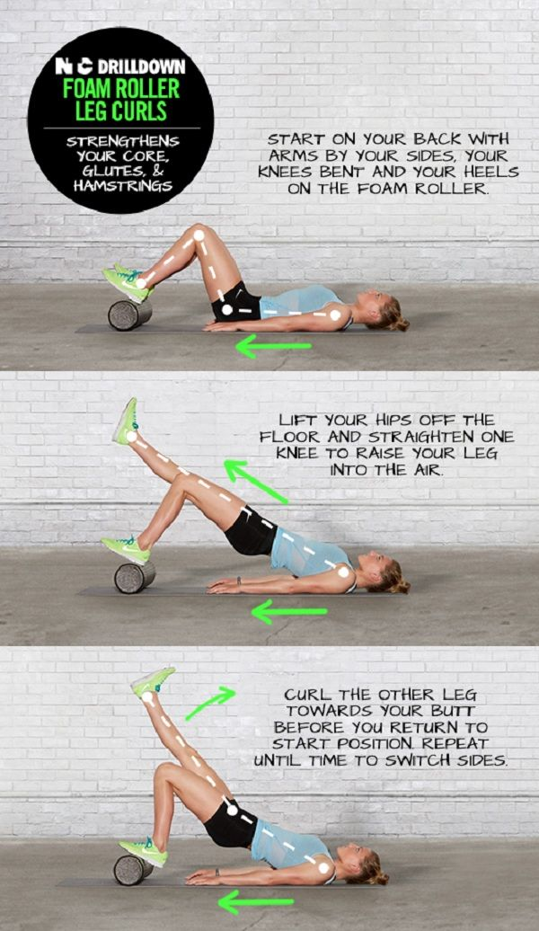 Strengthen your core, glutes and hamstrings with Foam Roller Leg Curls. #training #drills #nike