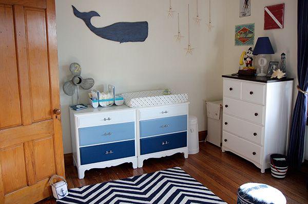Boys nursery whale stars nautical theme ombré dresser