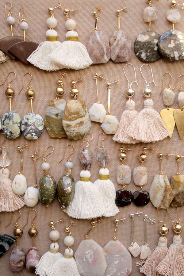 Marble, quartz and opal earrings