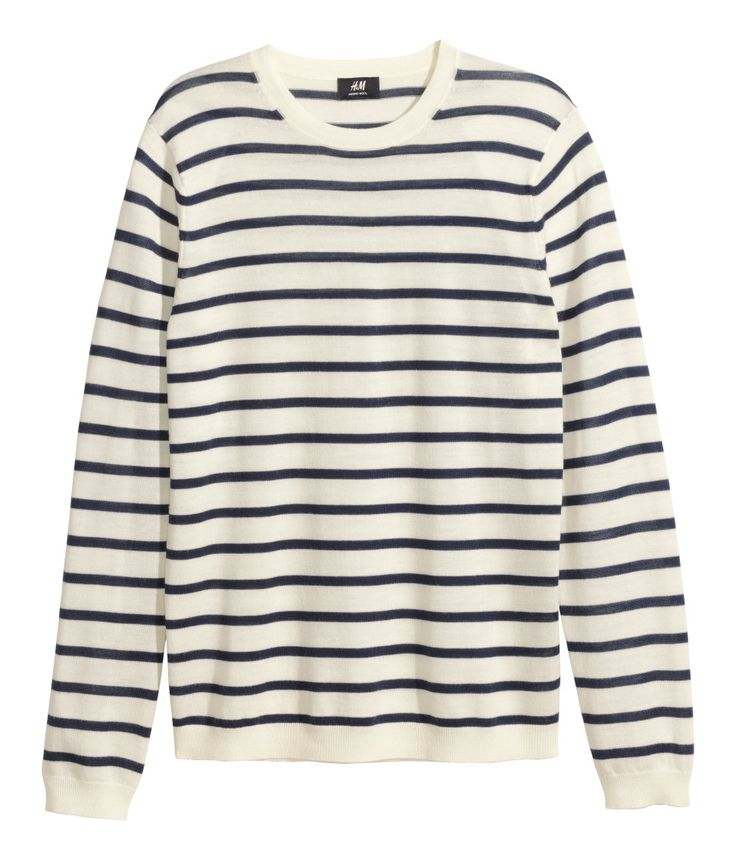 White striped fine-knit sweater with long sleeves & premium quality merino wool. | H&M Men's Classics
