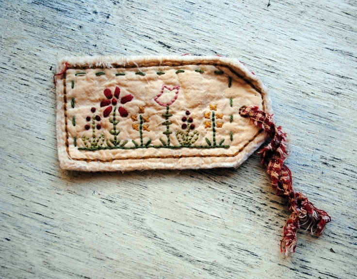 Hand Stitched Flower Garden Hang Tag