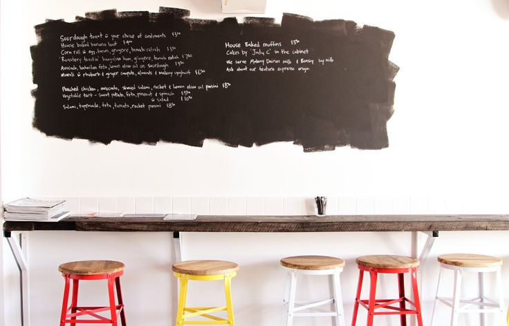 Black board paint menu. The Roastery Cafe - Rouge Coffee, South Brisbane.