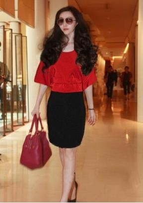 Fashion batwing sleeves waisted round neck ladies dress