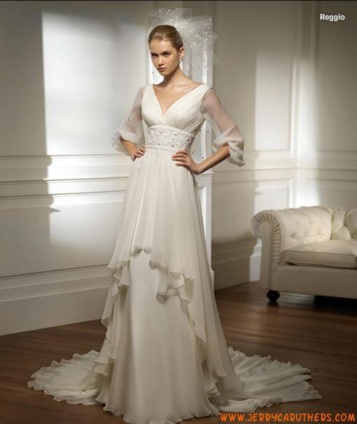 lange mouwen A-lijn chiffon jurk