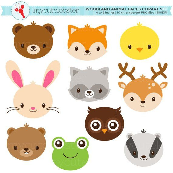 Woodland Animal Faces Clipart Set Cute Animals Rabbit Deer Fox Frog Owl Faces Personal Use Small Commercial Use Instant Download Animal Faces Woodland Animals Animal Clipart