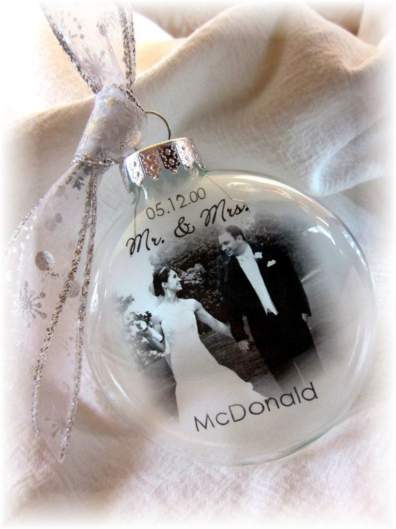 MR & MRS Custom First Christmas Wedding Holiday Glass Photo Ornament Keepsake - Large Over 3 Inches Like Thin Vellum or Etched Glass