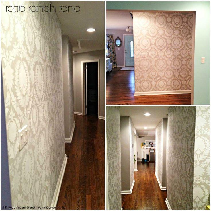 Silk Road Suzani Stencil on Hallway Walls | Project by Retro Ranch Reno http://retroranchrenovation.blogspot.com/2013/11/evolution-of-our-hallway.html