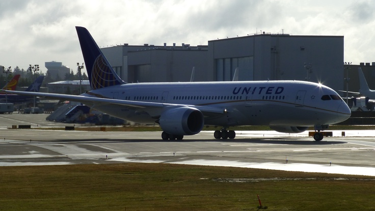 The first 787 I ever saw; about to depart on a test flight at Boeing Field, WA.