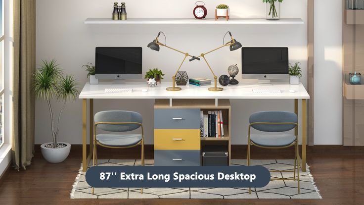 Extra Long Computer Desk For Two Person In 2020 Home Office Design Home Office Setup Desk For Two