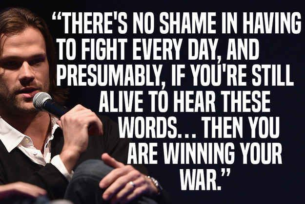 Jared Padalecki.  This is amazing and I want to pin it everywhere! Keep fighting!!!! You are winning!!!