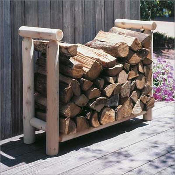 4ft rustic cedar log holder