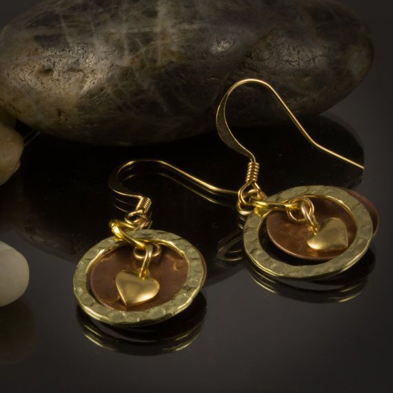Hammered copper and gold earrings by LaraBellaJewelry