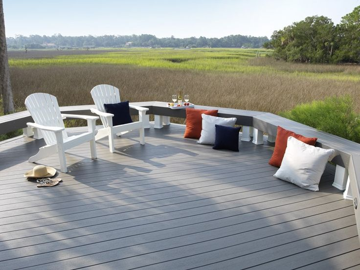 Gray Deck Boards, Deck Bench Deck Design TimberTech Wilmington, OH