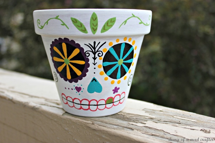 Dia de los muertos skull - cute and sweet when used to transform a plain flower pot