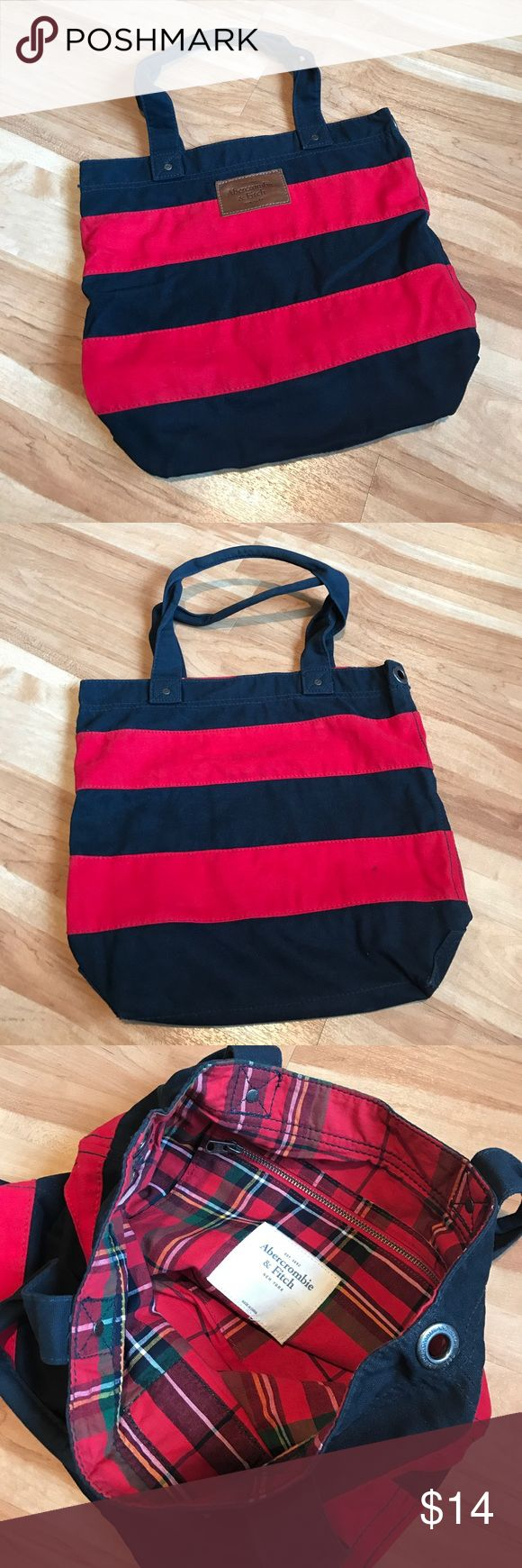 Abercrombie & Fitch Tote Gently used red and blue tote from Abercrombie & Fitch. Only stain is on the back you can see in the 2nd picture. Make me an offer! Abercrombie & Fitch Bags Totes