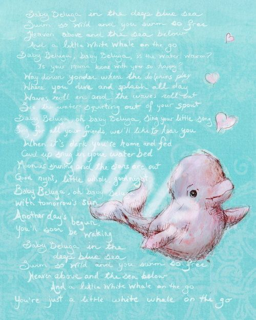Baby Beluga: art print with Raffi lyrics by JennyDaleDesigns