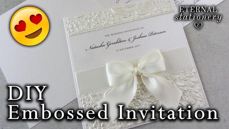 How to make a romantic embossed wedding invitation   DIY Wedding Invitat...