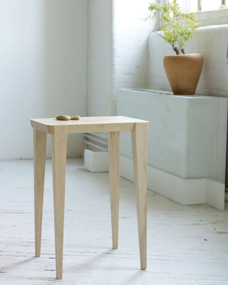 Oslo side table with glass top by studio moe scandinavian Reclaimed wood furniture portland