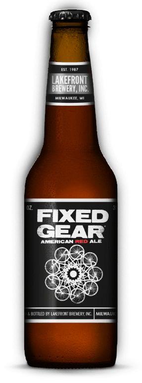 Cerveja Lakefront Fixed Gear, estilo American Amber Ale, produzida por Lakefront Brewery, Estados Unidos. 6.8% ABV de álcool.
