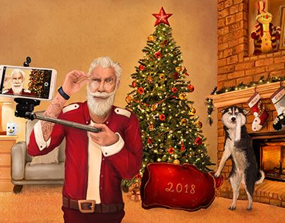 """This illustration was primarily created as a greeting all around with the upcoming holidays. But in recent years, the selfie has become not just a problem this a disease, people get together for the holidays is not fun and relax, they want to take a picture and upload to instagram or other social network. I am - against) Check out new work on my @Behance portfolio: """"Santa Claus selfie. New year. Christmas. Dog."""" http://be.net/gallery/59583149/Santa-Claus-selfie-New-year-Christmas-Dog"""