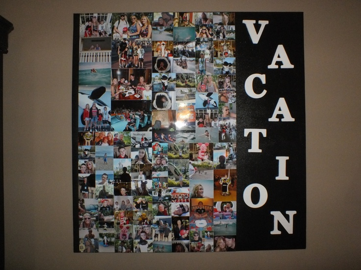 did a collage on a canvas. lots of tutorials how to do it on pinterest